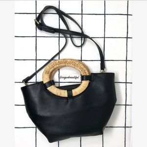 Anthropologie Woven Wooden Handle Bag Black Crossb